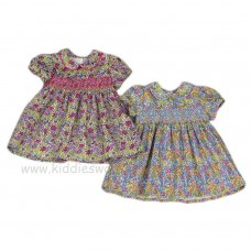 J3565: Baby Girls AOP Floral, Smocked Lined Dress (1-2 Years)