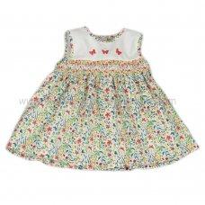 J3567: Baby Girls AOP Flowers Lined Dress (1-2 Years)