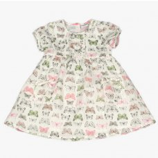 J3651: Infant Girls All Over Print Cotton Lined Dress (1-3 Years)