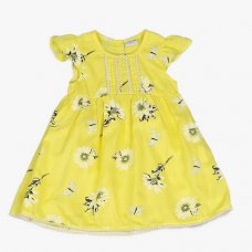 J3652: Infant Girls All Over Print Cotton Lined Dress (1-3 Years)