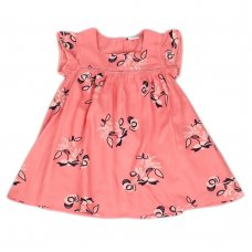 J3653: Infant Girls All Over Print Cotton Lined Dress (1-3 Years)