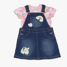 J4642: Infant Girls  Unicorn T-Shirt & Denim Pinafore Outfit (2-6 Years)