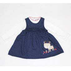 L3006: Baby Girls Cotton Lined Pinafore Dress & Top Set (12-24 Months)