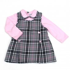L3007: Baby Girls Cotton Lined Check Pinafore Dress & Top Set (12-24 Months)