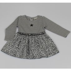 M3435: Baby Girls Cotton Lined Leopard Print Dress (12-24 Months)