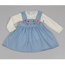 M3437: Baby Girls Cotton Lined Pinafore Dress & Top Set (12-24 Months)