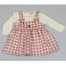 M3438: Baby Girls Cotton Lined Pinafore Dress & Top Set (12-24 Months)