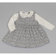 M3439: Baby Girls Cotton Lined Pinafore Dress & Top Set (12-24 Months)