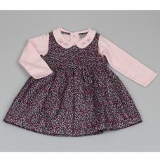 M3440: Baby Girls Cotton Lined Pinafore Dress & Top Set (12-24 Months)