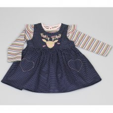 M3441: Baby Girls Cotton Lined Pinafore Dress & Top Set (12-24 Months)