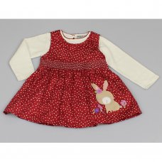 M3442: Baby Girls Cotton Lined Pinafore Dress & Top Set (12-24 Months)