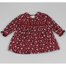 M3501: Baby Girls Cotton Lined All Over Print Dress With Smocking (12-24 Months)