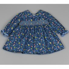 M3502: Baby Girls Cotton Lined All Over Print Dress With Smocking (12-24 Months)