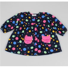 M3505: Baby Girls Cotton Lined All Over Print Dress (12-24 Months)