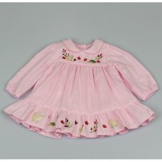 M3508: Baby Girls Cotton Lined Dress With Embroidery (12-24 Months)