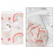 FS957: Supersoft Rainbow Fleece Baby Blanket