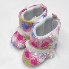 G8603: Baby Girls Heart Print Boots (0-12 Months)