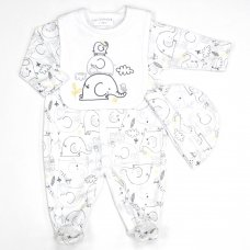 L1256: Baby Unisex Elephant 3 Piece All In One, Bib & Hat Set (0-9 Months)
