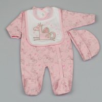 M1301: Baby Girls Unicorn 3 Piece All In One, Bib & Hat Set (0-9 Months)