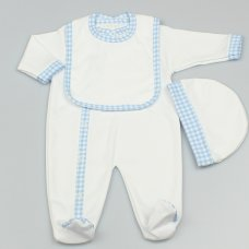 M1542: Baby White With Sky Trim 3 Piece All In One, Bib & Hat Set (0-9 Months)