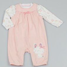 M1496: Baby Girls Bunny Cord Dungaree & Top Outfit (0-9 Months)