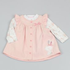 M1494: Baby Girls Bunny Cord Dress & Top Outfit (0-9 Months)