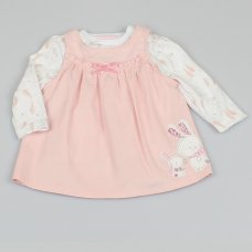 M1495: Baby Girls Bunny Cord Dress & Top Outfit (0-9 Months)