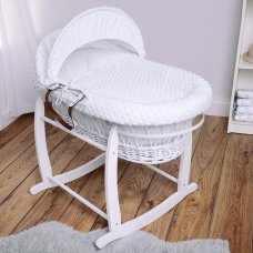 Luxury Dimple Velour 3 Piece Moses Basket Dressing Set: White