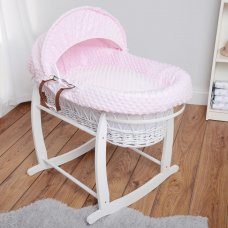 Luxury Dimple Velour 3 Piece Moses Basket Dressing Set: Pink