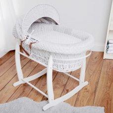 Luxury Dimple Velour 3 Piece Moses Basket Dressing Set: Grey