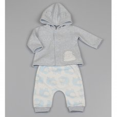 M1413: Baby Boys Sheep Melange Fleece Hooded Jacket & Pant Outfit (0-9 Months)