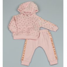 M2455:  Baby Stars Print Hooded Cuddle Fleece Top & Jog Pant Set (3-12 Months)