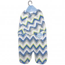 K11808: Baby Boys Zig Zag Fleece Swaddle Wrap (0-6 Months)
