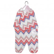 K11809: Baby Girls Zig Zag Fleece Swaddle Wrap (0-6 Months)