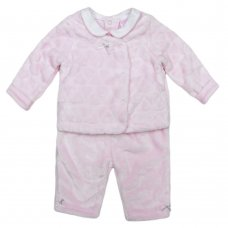 K12725: Baby Girls 3 Piece Embossed Plush Outfit (0-9 Months)