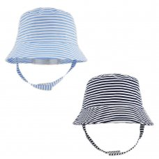 0282: Baby Boys Stripe Bucket Hat With Chin Strap (0-6 Months)