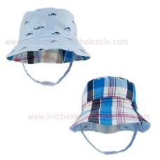 0283: Baby Boys Reversible Bucket Hat With Chin Strap (6-18 Months)