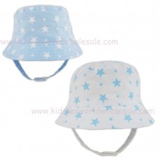 0284: Baby Boys All Over Print Stars Bucket Hat With Chin Strap (0-6 Months)