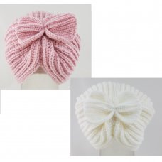 KIDS6186: Baby Girls Knitted Turban Hat (NB-3 Months)