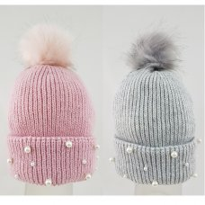 KIDS6187: Girls Faux Pom Hat With Beads (2-8 Years)