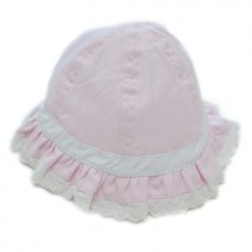 0117: Baby Girls Lace Trim Sun Hat (0-6 Months)
