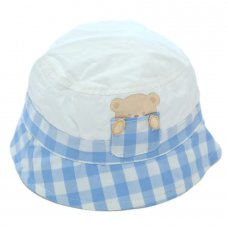 0152: Baby Boys Check Bear Bucket Hat (0-6 Months)