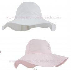 02661: Girls Plain Wide Brim Hat (1-4 Years)