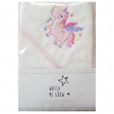 L1034: Baby Girls Unicorn Hooded Towel/Robe