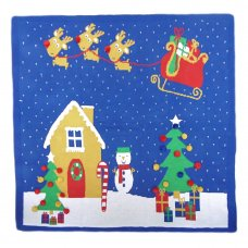 M14073: Baby Luxury Cotton Knitted Christmas Scene 3D Blanket On A Wooden Hanger