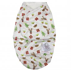 M14095: Baby Christmas Fur Lined Mink Swaddle Wrap