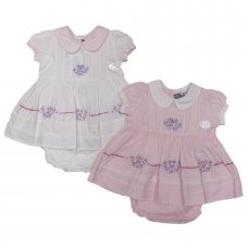 M14691: Baby Girls Hand Embroidered Dress & Pant Outfit (0-9 Months)