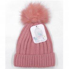 M14966: Baby Girls Knitted Fur Pom Pom Hat (6-12 Months)