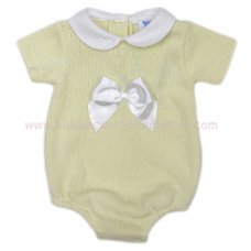 MC400L: Baby Lemon Knitted Romper With Bow (0-9 Months)