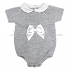 MC400G: Baby Grey Knitted Romper With Bow (0-9 Months)